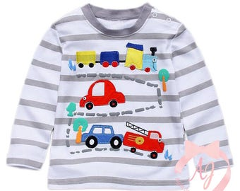 Long Sleeve Cars, Trains, Automobiles Applique Shirt