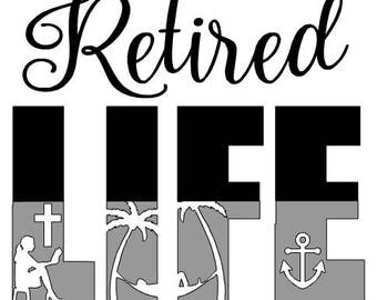 Multi Color Retired Life Vinyl Decal