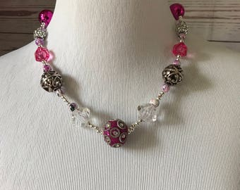 Hello Summer! Vibrant Pink Beaded Necklace