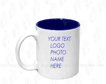 Personalized Coffee Mug Two Tone Navy Blue 11oz Cup Custom Photo Text Logo