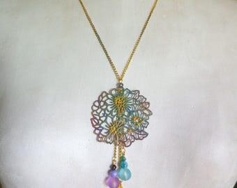Bronze multicolored enameled flower pendant