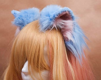 Pale Blue Kitty Ears Fur Headband