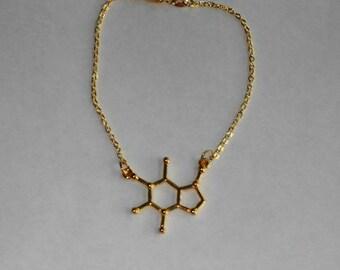 Caffeine Bracelet,Caffeine Molecule Bracelet,Gold Caffeine Molecule Bracelet,Dainty Gold Caffeine Molecule Bracelet,Molecule Jewelry