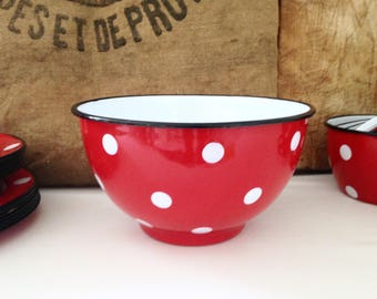 Vintage French, red dots with white enamel Bowl. Vintage 60s