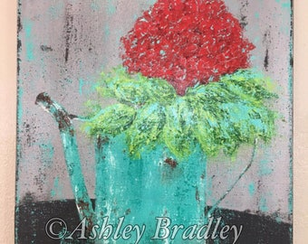 Original Abstract Red Hydrangea Painting