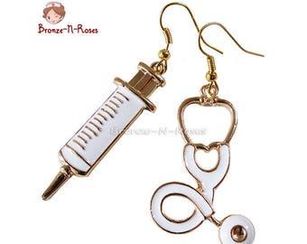 Earrings nurse who rocks! fancy bronze-n-roses gold tone costume jewelry