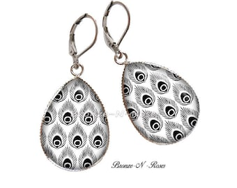 Drop earrings (feathers from peacocks ° stainless steel black and white)