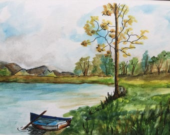 "Boat by the Lake/Watercolor painting/5 x 7"" painting/Watercolor and ink/Nature scene/Lake watercolor/boat watercolor/"