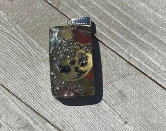 7 Chakra Rectangle  Shape Orgone Pendant with OM symbol|Healing crystals and Stones|emf protection|Orgonite Pendant|Energy