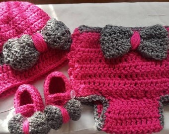 "Newborn Baby Girl ""Berry Bow-tiful"" Hat, Diaper Cover, and MaryJane Set"