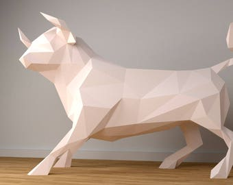 Bull XXL Papercraft, 3D Papercraft - Build Your Own Low Poly Paper Sculpture from PDF Download (DIY gift, Wall Decor for home and office)