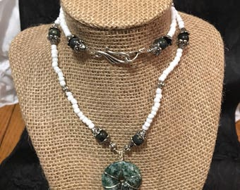 Tree Jasper Green and White Beaded Necklace