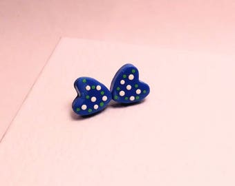 Polymer clay blue heart with white and green polka dots stud earrings