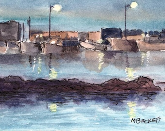 ACEO / ATC Original: 'Twilight on the Docks' - watercolor on 140lb watercolor paper