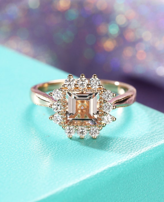 etsy wedding rings morganite engagement ring gold vintage engagement ring 3942