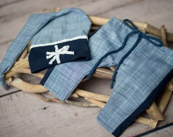 The Daniel-Photography prop boys-night cap-pant-set-white and blue-ready to ship newborn-made to order sitter- soft cotton