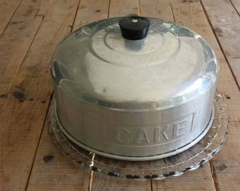 Vintage Aluminum Cake Cover with Beautiful Glass Plate