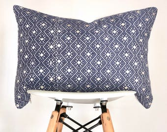 13 x 19 Blue (Periwinkle) Chinese Wedding Blanket Lumbar Pillow Cover, Boho Pillow Cover, Nursery Pillow Cover, Vintage Pillow Cover