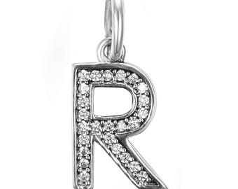 Alphabet Letter R Dangle, Pendant, Charm, Sterling Silver with Cubic Zirconia Fits to all Pandora Charm Bracelets