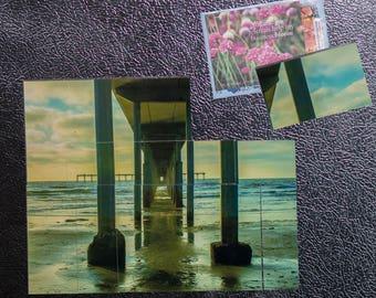 Ocean Beach Fishing Pier Mosaic Magnets - San Diego Fine Art and Landscape Photography - Coastal Decor