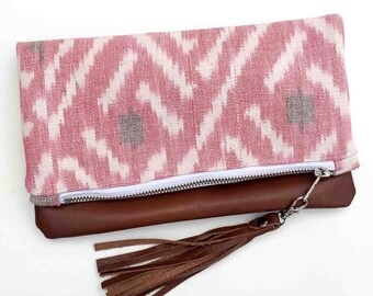 FREE shipping - Zoe Clutch - folded leather clutch - genuine repurposed leather clutch