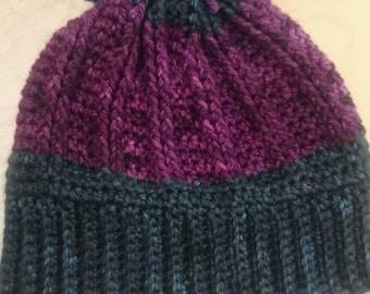 Crochet Braid hat with pompom