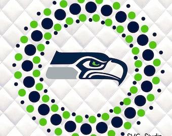 Seattle Seahawks  -  Circle SVG, Silhouette studio bundle - design download