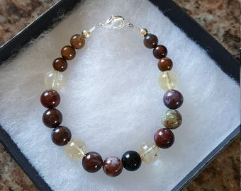 6,8 mm Agate & 8 mm Citrine Bracelet w/925 Sterling