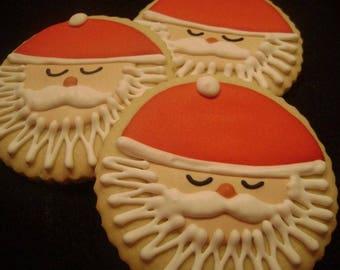 Santa cookies   Custom decorated Christmas cookies