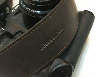 Leather Camera Strap Personalized, Canon camera strap, Nikon camera strap, brown camera strap, black camera strap, Personalized camera strap
