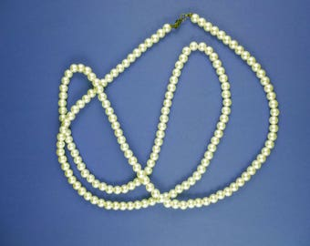 Vintage Pearl Necklace - Long Faux Pearl Necklace, Vintage String Of Pearls, Costume Jewellery