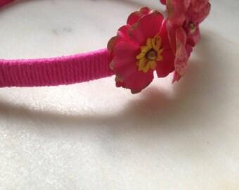 Pink flower plastic headband!