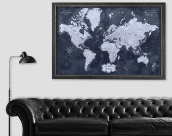 World wall map etsy world travel push pin map world wall map world travel art world map wall art framed gumiabroncs Gallery