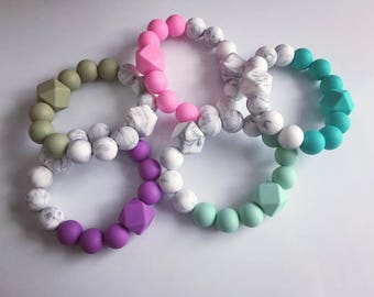 Modern Silicone Bead Teething Ring Toy
