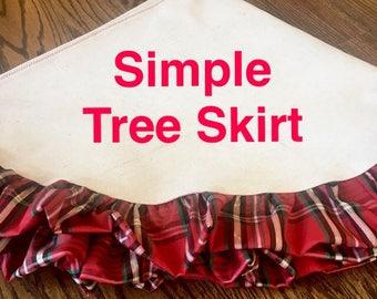 Red Ruffle Christmas Tree Skirt • Simple Tree Skirt • Christmas Tree Decor • Christmas Tree Rug • Ruffle Christmas Tree Skirt