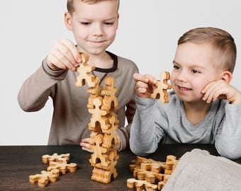 Flockmen - hand made, eco friendly, children wooden toy. Montessori, blocks, educational, natural, preschool, balancing - 32pcs