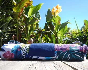 White Yoga Mat Bag Vibrant Orchids