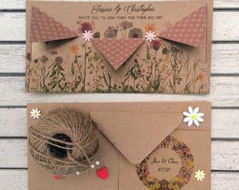 Vintage Wedding Invitation & RSVP card - Sample card in Sweetie
