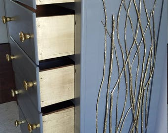 Grey and Gold Tall Dresser