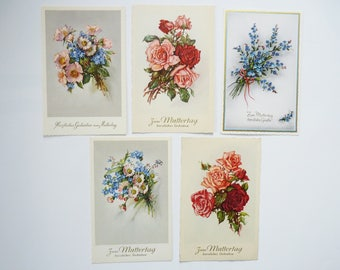 Postcards greeting card mothers day flowers 1940s Germany Ephemera VINTAGE 5 pcs