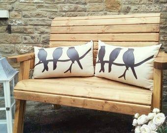 handmade rustic solid wood garden bench made in uk