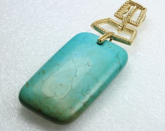 Stunning Turquoise Gold plated Sterling Silver Pendant