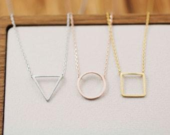 Open Triangle , Square , Circle Pendant Necklace , Geometric necklace, triangle necklace, Circle necklace, Square necklace