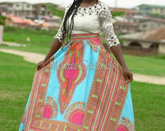 Mary African Dashiki maxi skirt.