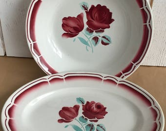 2 vintage plates, Badonviller, country chic, floral