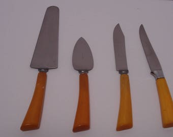4 Piece Set of Knives and Servers, Caramel Bakelite Handles, Cheese, Steak, Cake
