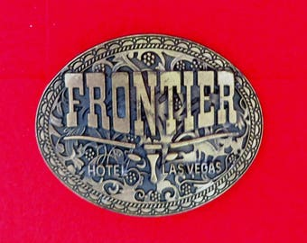 Frontier Hotel Belt Buckle, Vintage 1970s Las Vegas Gamblers Collectible Belt Buckle