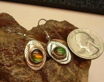 Ammolite Earrings Sterling Silver OOAK Utah Deposit Statement Jewelry Pebble Statement Earrings Red Green Orange Fire 131G