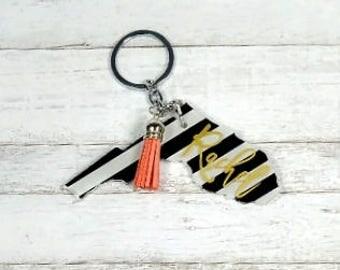 Florida Keychain//Florida State Keychain//Striped Keychain//Birthday Gift//Christmas Gift//Gift For Her//Personalized Keychain/Key chain