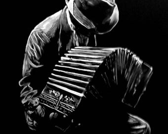 Man playing the bandoneon modern painting. Bandoneonist painting